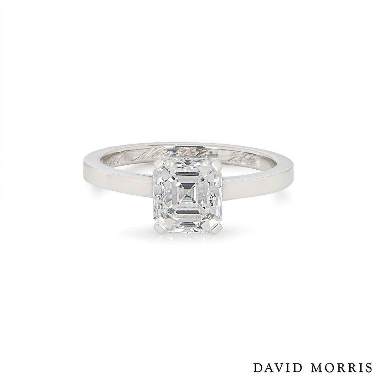 David Morris Platinum Emerald Cut Ring 1.73ct D/VS2